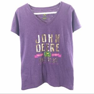 John Deere purple V-neck shirt size Large